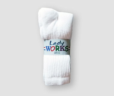 Lady Works Crew Socks 3P(White)