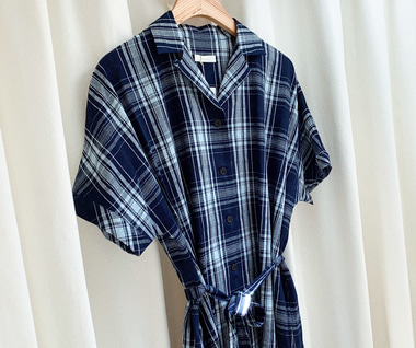 Indigo Dobby Check Open Collar S/S Shirt Dress (Dark Indigo)