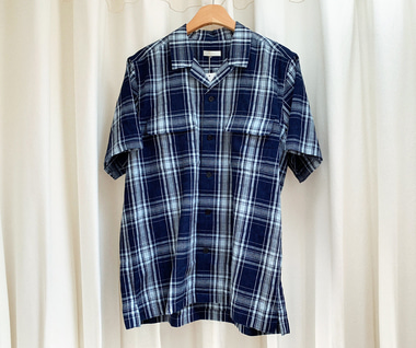Indigo Dobby Check Open Collar S/S Shirt (Dark Indigo)