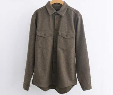 Loden Wool Flap Pocket Shirt (Grey)