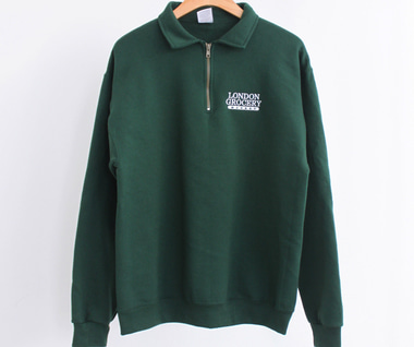 [RESTOCK] W.F.M Logo Embroidered 1/4 Zip Sweatshirt (Forest Green)