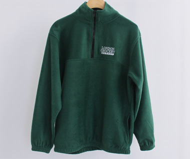 W.F.M Logo Embroidered Polar Fleece Pullover (Forest Green)