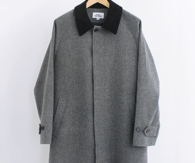 Wool Mac Coat (Herringbone Grey)