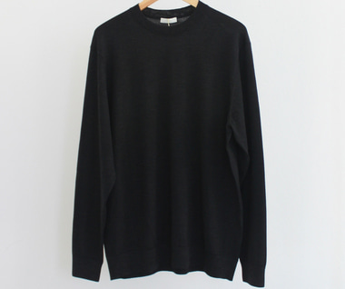 Fine Gauge Wool Elbow Patch Sweater (Charcoal Grey)