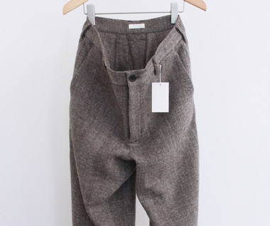 Shetland Wool Linen Herringbone Pants (Brown)