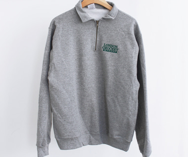 [RESTOCK] W.F.M Logo Embroidered 1/4 Zip Sweatshirt (Oxford Grey)
