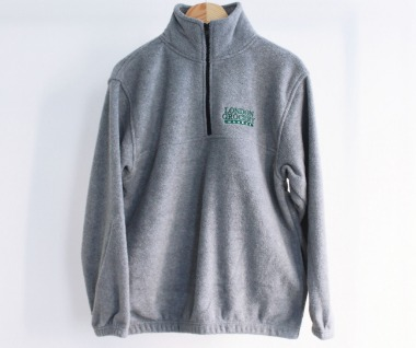 W.F.M Logo Embroidered Polar Fleece Pullover (Heather Grey)