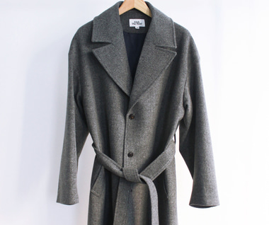 Belted Wool Coat (Herringbone Grey)