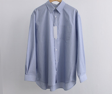 Relaxed Cotton Shirt (Blue Stripe)