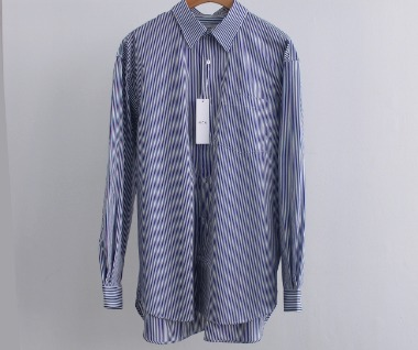 Relaxed Cotton Shirt (Navy Stripe)