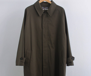 Japanese Cotton Oversized Trench with Leather Patch (Khaki)