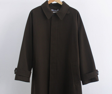 Oversized Cotton Trench with Leather Patch (Brown)