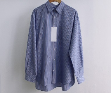 Relaxed Cotton Shirt (Blue/Navy Stripe)