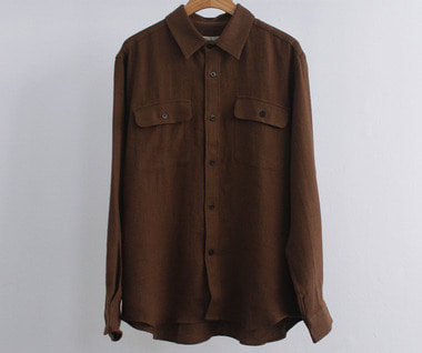 Ramie Linen Wool Oversized Shirt (Brown)