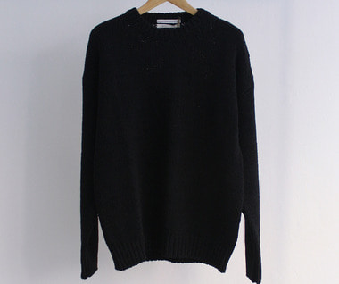 Oversized 2 Yarns Fettuccia Sweater (Black)